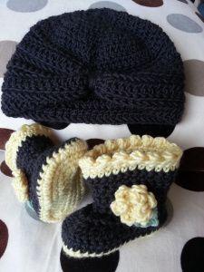 Crochet Baby Turban  Booties Set