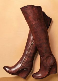 Over the knee brown wedge boots