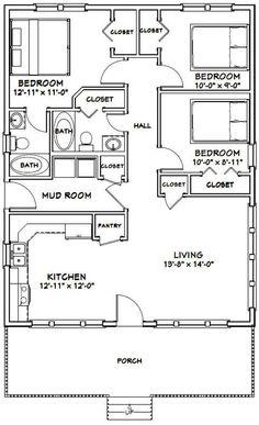 24 X 36 House Plans Elegant House 1 008 Sq Ft Excellent Floor Plans 3 Bedroom Floor Plan, House Plans 3 Bedroom, Cabin House Plans, Tiny House 3 Bedroom, Small Cabin Plans, Small Cabins, Bedroom Small, The Plan, How To Plan