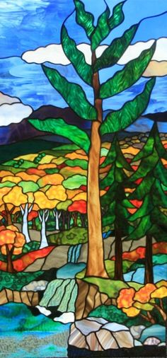 """Fred Varney Stained Glass - """"FALL STREAM"""""""