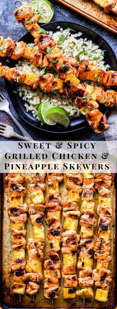 Sweet and Spicy Grilled Chicken and Pineapple Skewers will be your go-to dinner all summer long! Flavored with chili garlic sauce and sweetened with honey these paleo and gluten-free chicken skewers are perfect for a protein packed healthy dinner! Spicy Grilled Chicken, Grilled Chicken With Pineapple, Healthy Grilled Chicken Recipes, Summer Chicken Recipes, Grilled Pineapple Recipe, Recipe Chicken, Paleo Recipes Dinner Chicken, Pineapple Kabobs, Gastronomia