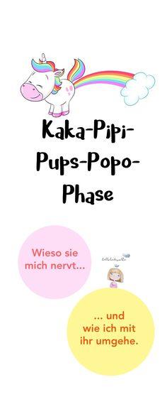 """Die """"Kaka-Pipi-Pups-Popo-Phase"""": Bei Kleinkindern eine wichtige Entwicklungsphase. Aber wenn ständig alles als """"Kaka"""" und """"Pups"""" bezeichnet wird (gefolgt von albernem Lachen), dann kann das Mama MEGA nerven. Mich zumindest. ;) Ich erzähle euch, wie ich damit umgehe. Kleiner Tipp: Mit ein bisschen mehr Humor lebt es sich entspannter. ;) #kinderkannich #pinitmom #halloliebewolke"""