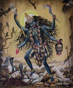 Medium: acrylic on canvas Size: cm Status: For Museum of Sacred Art, Belgium Description: Kali is Goddess is one of 10 Mahavidyas. Kali is a destroye. Indian Goddess Kali, Durga Goddess, Indian Gods, Durga Maa, Kali Mata, Kali Hindu, Hindu Art, Indiana, Kali Tattoo