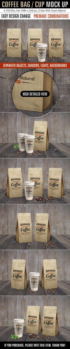 Coffee Bag / Cup Mock Up :  Check out this great #graphicriver item 'Coffee Bag / Cup Mock Up' http://graphicriver.net/item/coffee-bag-cup-mock-up/7614879?ref=25EGY