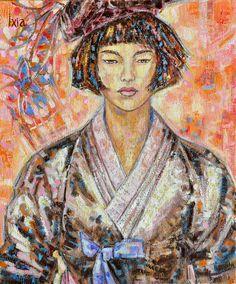 """Le noeud bleu"" by Ixia Original oil painting on canvas, 46 x 55 cm"