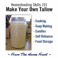 How to make your own tallow. Rendered tallow makes lovely soap, and has many other uses, it can be stored for extended periods without the need for refrigeration to prevent it from going rancid.