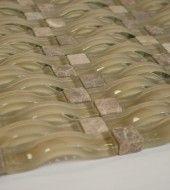 Vintrav   Light Emperador 3D Waves Glass Mosaic Tiles