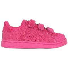 Adidas Originals Kids-girls Superstar Supercolor Leather Sneakers ($69) ❤ liked on Polyvore featuring fuchsia