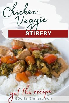 Looking for dinner ideas? Try making this chicken veggie stirfry recipe! A simple, quick, and budget friendly skillet/wok meal that everyone will love! Read along to learn more! #chickenrecipe #stirfry #dinnerrecipe One Dish Dinners, Easy Dinners, Easy Delicious Dinner Recipes, Sticky Rice Recipes, Healthy Dishes, Copycat Recipes, Quick Easy Meals, Stir Fry, Family Meals