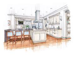 Artwork For Home Decoration Interior Design Renderings, Drawing Interior, Interior Rendering, Interior Sketch, Architecture Design, Architecture Sketches, Classical Architecture, Kitchen Drawing, Kitchen Art