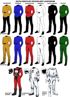Century Starfleet Uniforms by MorganDonovan on DeviantArt Star Trek Rpg, Star Trek Ships, Star Wars, Star Trek Birthday, Star Trek Insignia, Dune Frank Herbert, Comic Clothes, History Of Television, Star Trek Characters