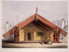 """Depicts the whare whakairo (carved house) """"Kaitangata"""" with carved lintel, posts and gables, said by the artist to have been carved by Te Rangihaeata himself. 2 figures are seated on the edge of the porch, and a gourd stands on the ground. The carved face supporting the ridge pole is said to represent Rangihaeata himself."""