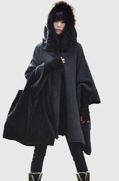 Women  Dark grey  cape Coat winter coat Autumn-Winter  Woman Wool Long Knitted Coat Sweater  cloth coat Hooded Cape/clothing /jacket