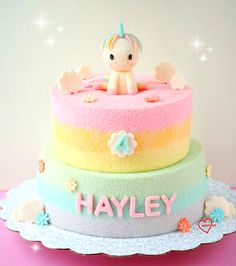 unicorn rainbow tier chiffon cake
