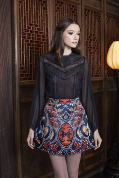 Loving this lace top with the brocade mini skirt for fall!