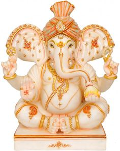 Seated Ganesha with Trident Mark and Large Ears