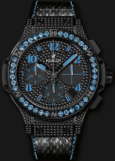 Hublot Black Fluo Blue – Big Bang – Diamond Sapphire watches  Hublot Men's Big Bang Black Fluo Chronograph adorned with 430 black diamonds (2.3 carats) and 36 sapphires, limited edition  http://www.beautyfashionfragrance.us/2017/05/24/hublot-black-fluo-blue-big-bang-diamond-sapphire-watches/