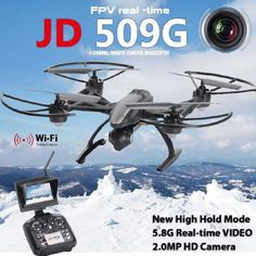JXD 509G 5.8G FPV Drone with 2.0MP HD Real-time Aerial Camera, High Hold Mode  This JXD 509G FPV Drone flier has excellent FPV and control range. It also has an altitude hold feature that works very well. Its 2MP camera isn't that bad either.? ...