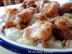 Welcome Home Blog: Honey Sesame Chicken over Sticky Rice