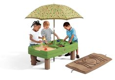 Kids Sandbox Water Table Double Sided 8 Pc Accessory Set Cover Removable Umbrella