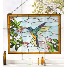 Humming Bird Stained Glass Panel