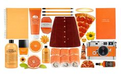 """#44. Orange"" by whiplash-ht ❤ liked on Polyvore featuring Origins, American Apparel, Smythson, Mead, Butter London, Leica, Anatomy Of, Aesop, CO and philosophy"