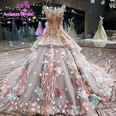 3D flowers Champange Lace Wedding Ball Gowns 2018 New Styles  Amazing Dresses  Real Photo Luxury Ball Gown Wedding Dresses Gowns #Affiliate