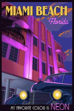 Miami Beach, Florida vintage travel poster by Steve Thomas