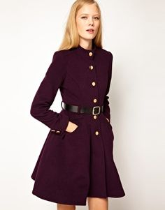 Enlarge ASOS Belted Button Front Coat With Full Skirt $104