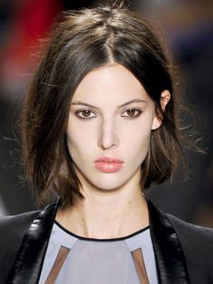 Long blunt bob with centre part and no bangs