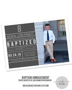 LDS Baptism Announcement Boy Invitation by MelissaBaileyDesigns Mormon Baptism, Boy Baptism, Lds Baptism Ideas, Baptism Invitation For Boys, Baptism Invitations, Missionary Farewell, Baptism Announcement, Baptism Pictures, Baptism Photography