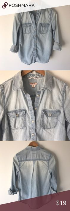 """Light wash chambray button up. Acid washed chambray button up from Merona for Target.  Approximately 24"""" from shoulder to hem, 17"""" from pit to pit.  100% cotton.  Like new!  I have several chambray button up tops and looking to spring clean out the closet!  Size S. Merona Tops Button Down Shirts"""