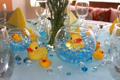 22 Super Ideas For Baby Shower Centerpieces For Boys Center Pieces Rubber Duck Baby Shower Duck, Rubber Ducky Baby Shower, Baby Shower Gender Reveal, Rubber Ducky Party, Ducky Baby Showers, Unisex Baby Shower, Shower Party, Baby Shower Parties, Baby Shower Themes