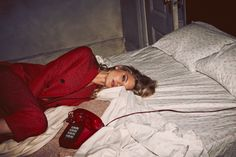 Martha Hunt wears a red suit jacket for So It Goes Magazine October 2015 Editorial Photoshoot