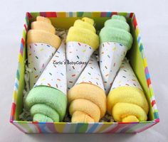 Your place to buy and sell all things handmade - Washcloth Ice Cream Cone Baby Ice Cream cone Baby Shower Regalo Baby Shower, Baby Shower Host, Fiesta Baby Shower, Baby Shower Gift Basket, Shower Bebe, Baby Baskets, Baby Shower Parties, Gifts For Baby Shower, Gift Baskets