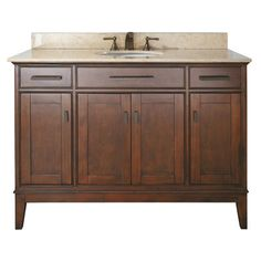 "Red Barrel Studio Chesterville 49"" Single Bathroom Vanity Set Top Finish: Galala Beige, Base Finish: Tobacco"