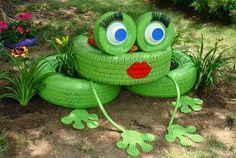 Frosch aus alten Reifen machen - Upcycling Idee