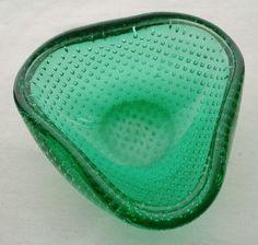 MINI MODERN Archimede Seguso MURANO Square BUBBLES Glass DISH GLOWS in BLACKLITE
