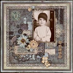 Colin ~Vintage style page with elaborate punch-work border and embellishments.
