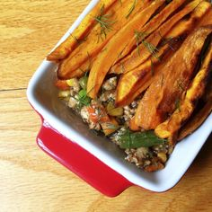 Shepherd's Pie with Sweet Potato Fries - use sprouted-grain flour (or a tablespoon of arrowroot) to thicken the savory gravy.