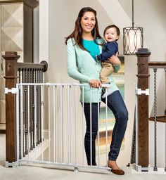 Regalo Top of Stairs Safety Expandable Baby Gate Wall Mount Banisters Top Of Stairs Gate, Safety Gates For Stairs, Baby Gate For Stairs, Child Safety Gates, Stair Gate, Staircase Gate, Wall Mounted Baby Gate, Metal Baby Gate, Best Baby Gates