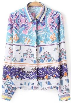 Blue Lapel Long Sleeve Floral Loose Blouse - abaday.com