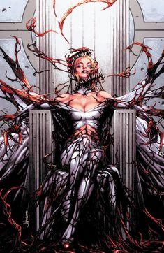 Uncanny X-Men variant cover - Carnage-ised Emma Frost by Jay Anacleto * Marvel Villains, Marvel Comics Art, Marvel Heroes, Captain Marvel, Punisher Marvel, Marvel Women, Marvel Girls, Comics Girls, Marvel Females