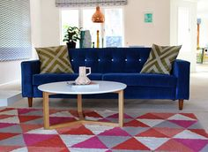 Blue velvet sofa | Mount Maunganui Home