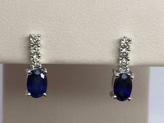 14K WHITE GOLD GENUINE AAA SAPPHIRE EARRINGS WITH GENUINE DIAMOND ACCENTS