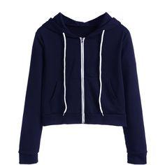 SheIn(sheinside) Navy Zip Up Pocket Hooded Sweatshirt (130 GTQ) ❤ liked on Polyvore featuring tops, hoodies, sweatshirt hoodies, navy blue zip up hoodie, navy blue hooded sweatshirt, hooded pullover and long sleeve hoodie