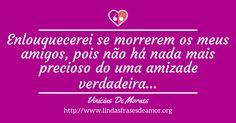 Enlouquecerei se morrerem os meus amigos, pois não há nada mais precioso do uma amizade verdadeira... http://www.lindasfrasesdeamor.org/autor/vinicius-de-moraes