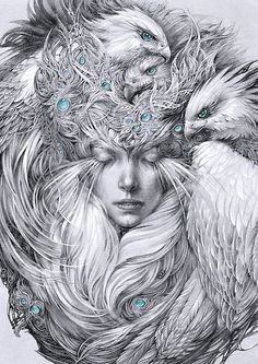 Sleeping fairy lady with a white hawks. Also buy this artwork on wall prints apparel stickers and more. Dark Fantasy, Fantasy Art, Drawing Sketches, Art Drawings, Arte Steampunk, Surreal Art, Adult Coloring Pages, Pencil Art, Beautiful Birds