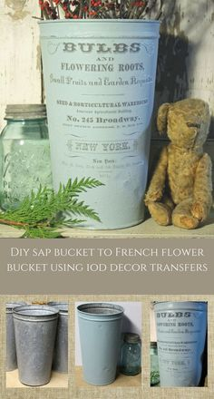 Have you used the white or charcoal IOD transfer yet? This tutorial takes an old bucket and make a great gift or decor for your home with an IOD Transfer. French Country Crafts, Galvanized Decor, Galvanized Buckets, Galvanized Metal, Easter Table Decorations, Home Decoration, French Flowers, Iron Orchid Designs, Painted Flower Pots