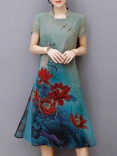 Shop Vintage Dresses - Blue Printed Stand Collar Short Sleeve Vintage Dress online. Discover unique designers fashion at PopJuLia.com.